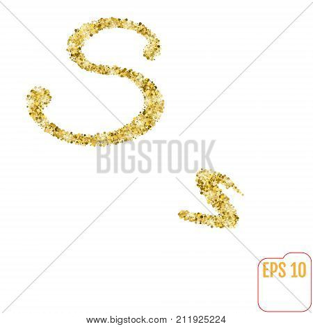 Gold Rush. Gold Alphabetic Letter S. Vector Gold Alphabet. Font