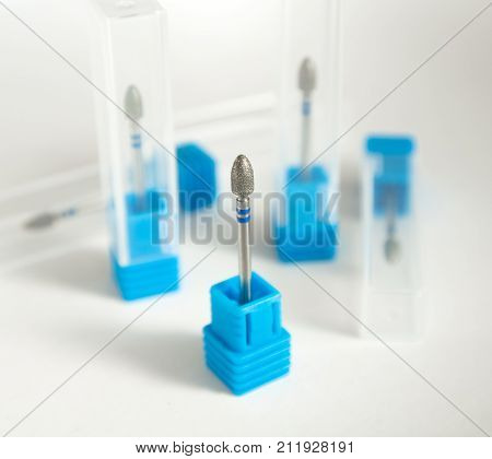 Burs For Podiatry, Diamond Nail Drill Bits Flame Form. Medical Instrument.