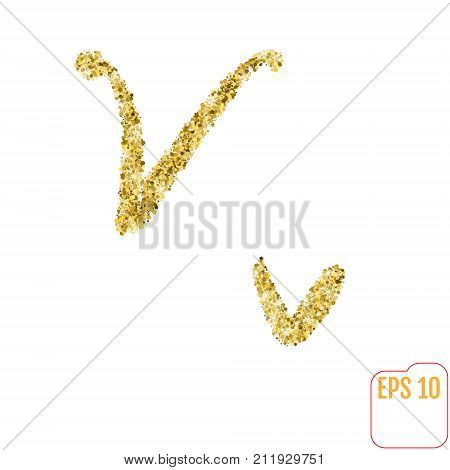 Gold Rush. Gold Alphabetic Letter V. Vector Gold Alphabet. Font