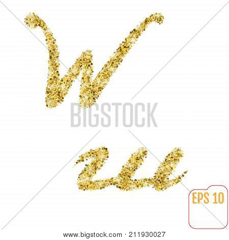 Gold Rush. Gold Alphabetic Letter W. Vector Gold Alphabet. Font