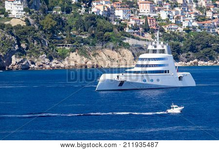 MONACO - 3 April 2017 - Motor yacht `A`, one of the largest motor yachts in the world, owned by the Russian billionaire Andrey Melnichenko.