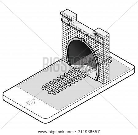 Outlined vector low poly stone tunnel with railway in mobile phone, isometric perspective. Old stone gray circular tunnel in communication technology. Isolated railroad illustration, white background.