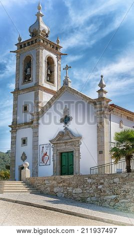 VITORINO DOS PIAES, PORTUGAL - SEPTEMBER 2, 2017: Church of Vitorino dos Piaes on the Camino de Santiago trail on September 2, 2017 in Portugal