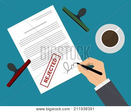 Man in suit rejected document by stamp and signature on the table with coffee cup. Document rejected vector illustration in flat design. Man puts signature in the document with rejected mark.