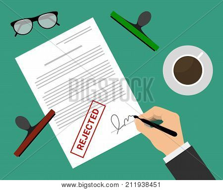 Man in suit rejected document by stamp and signature on the table with coffee cup and glasses. Document rejected vector illustration in flat design. Man puts signature in the document with rejected mark.