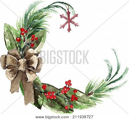 Watercolor Scandinavian Christmas Wreath. Hand drawn winter decoration. Magnolia leaves, spruce, eucalyptus, holly and pinecones bouquet, decorated with a bow and snowflake. Round winter floral frame.