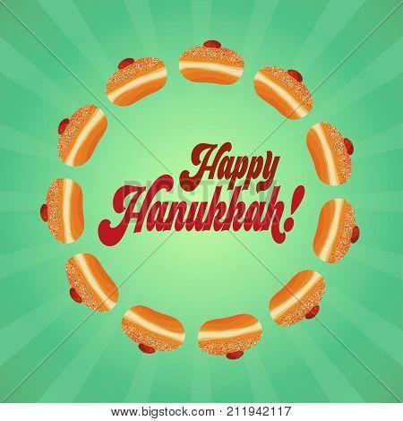 Jewish holiday of Hanukkah. Greeting card with sufganiyot - traditional donuts and greeting inscription - Happy Hanukkah. Vector illustration