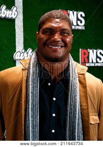 NEW YORK-FEB 1: Football player Calais Campbell attends the Roc Nation Sports Celebration at the 40/40 Club on February 1, 2014 in New York City.