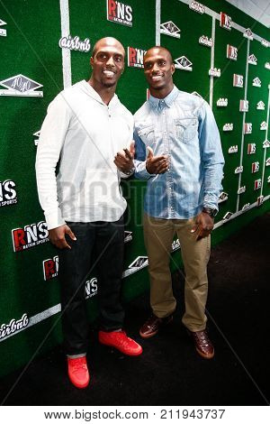 NEW YORK-FEB 1: Football players Devin McCourty (L) and Jason McCourty attend the Roc Nation Sports Celebration at the 40/40 Club on February 1, 2014 in New York City.