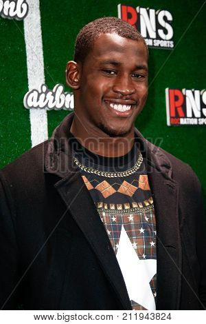 NEW YORK-FEB 1: Football player Aldon Smith attends the Roc Nation Sports Celebration at the 40/40 Club on February 1, 2014 in New York City.