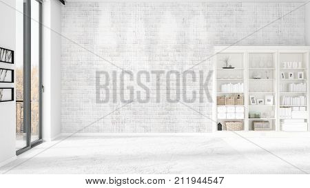 Modern Interior In Vogue With Shelving And Copyspace In Horizontal Arrangement. 3D Rendering.