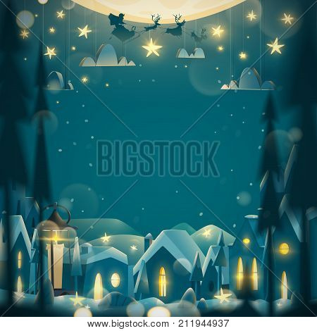 Merry Christmas and Happy New Year greeting card in cartoon style. Winter night with flying Santa Claus on the sledge.