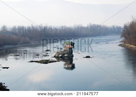 Beautiful House on river Drina in the nature