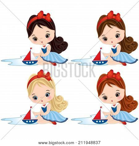 Vector cute little girls playing with toy ships. Vector little girls with various hair coiors dressed in nautical style. Vector little girl. Little girls with toy ships vector illustration
