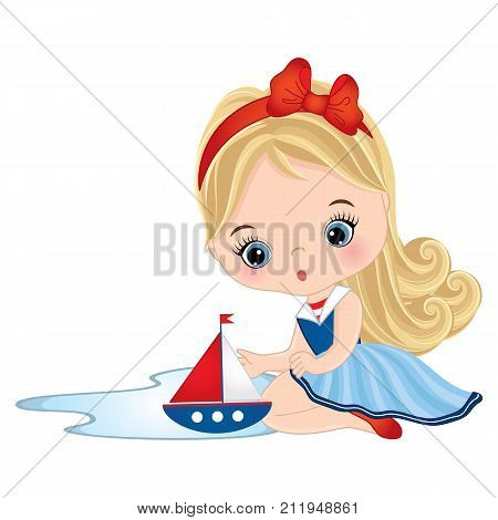 Vector cute little girl playing with toy ship. Vector little girl dressed in nautical style. Little girl with toy ship vector illustration