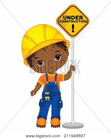 Vector cute little African American boy holding the sign - under construction. Vector construction. Vector little African American boy. Little builder vector illustration
