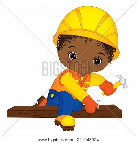 Vector cute little African American boy hammering nails. Vector construction. Vector African American little boy. Little builder vector illustration