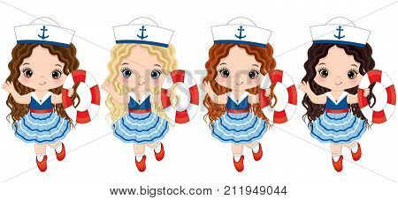 Vector cute little girls with buoys. Vector little girls with various hair colors dressed in nautical style. Little girls with buoys vector illustration