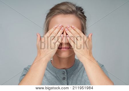 Tired Woman In Eyeglasses, Covering Face Eyes Hands