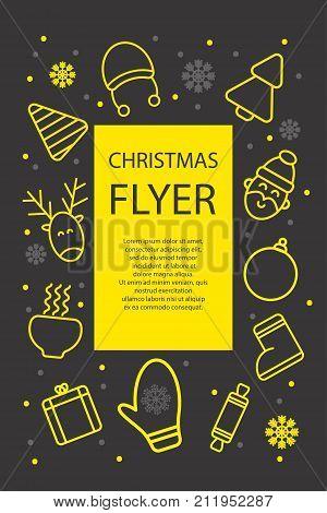 Christmas poster. Christmas card flyer invitation with icons - deer tree santa Stock vector