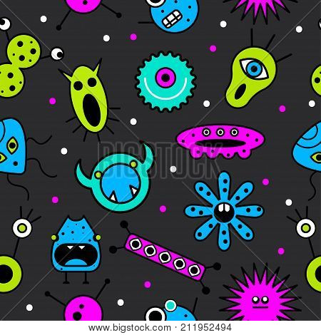 Seamless pattern monsters. Background microbes viruses bacteria. Funny characters Stock vector