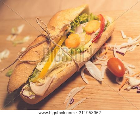 Banh Mi, Vietnamese-style Bread on wooden table