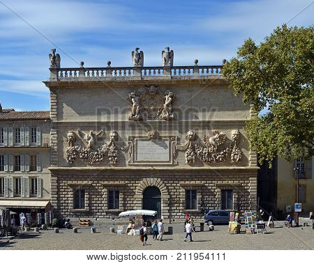Avignon France - October 02 2017: 18th Century Carved Facade in the Palais Des Papes Square Avignon Procence France