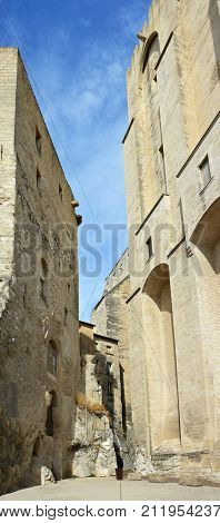 Detail of The Palais Des Papes Buildings in Avignon France built ontop of solid rock.