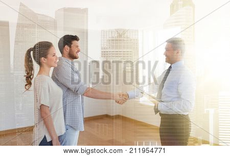 mortgage deal, people and real estate concept - happy couple and realtor with tablet pc computer shaking hands at new home over city buildings background and double exposure effect