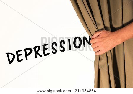 The word Depression being revealed from behind a curtain