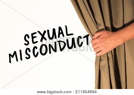 The words Sexual Misconduct being revealed from behind a curtain