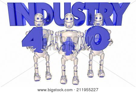 Industry 4.0 Automated Process Robots Automation 3d Illustration