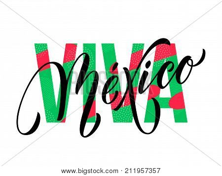 Viva Mexico Lettering Independence Day Mexican Vector National Symbol Flag Color