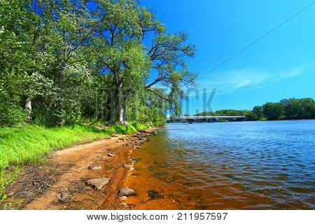 Sandy shoreline of the Wisconsin River near the town of Portage