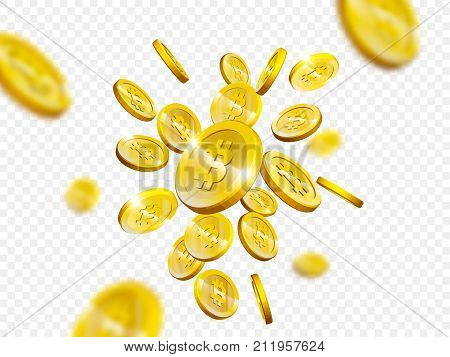Bitcoin Cryptocurrency Web Internet Mining And Digital Currency Payment Vector Coins Splash