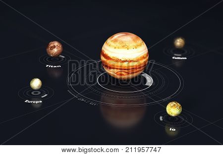 Jupiter - planet and moons. This image elements furnished by NASA, 3d Illustration
