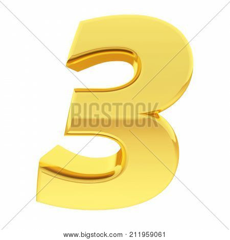 Gold Number 3 With Gradient Reflections Isolated On White