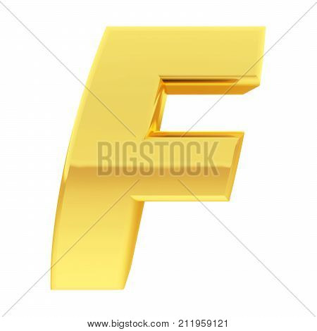 Gold Alphabet Symbol Letter F With Gradient Reflections Isolated On White