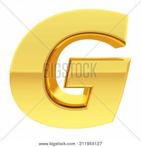 Gold Alphabet Symbol Letter G With Gradient Reflections Isolated On White