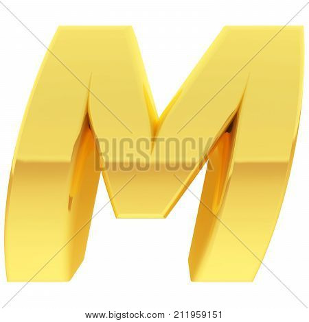 Gold Alphabet Symbol Letter M With Gradient Reflections Isolated On White