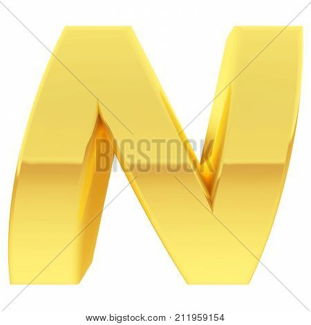 Gold Alphabet Symbol Letter N With Gradient Reflections Isolated On White