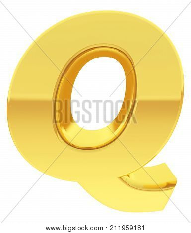 Gold Alphabet Symbol Letter Q With Gradient Reflections Isolated On White
