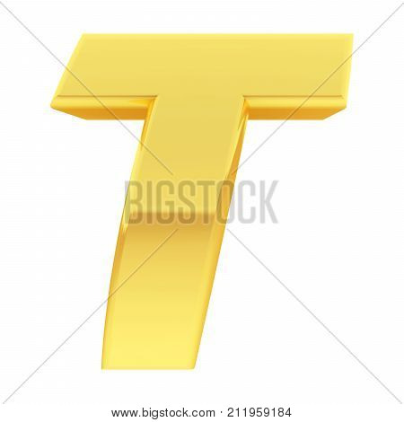 Gold Alphabet Symbol Letter T With Gradient Reflections Isolated On White