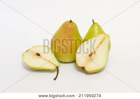 fresh slice pear on white background isolated yellow pears on a white background Ripe pears on a white background closeup