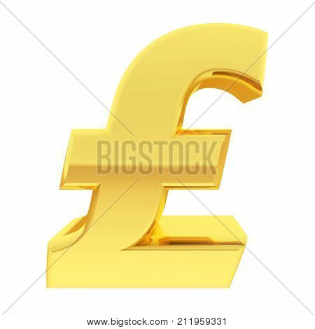 Gold Pound Sign With Gradient Reflections Isolated On White