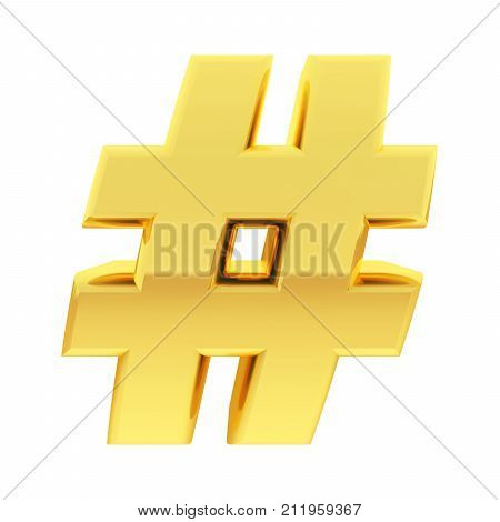 Gold Number Sign With Gradient Reflections Isolated On White