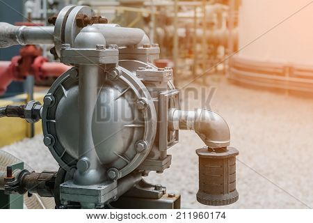 Diaphragm pump in petrochemical plant Diaphragm pump in oil refinery industrial Machine for loading chemical