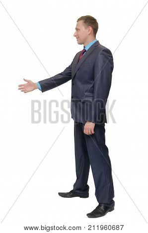 Handshake full-grown man isolated on white background side view of person greeting gesture. Business man stretches out his hand forward to someone.