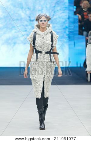 ZAGREB, CROATIA - OCTOBER 28, 2017: Fashion model wearing clothes designed by Marina Design and acessories designed by Marija Ivankovic at the 'Fashion.hr' fashion show