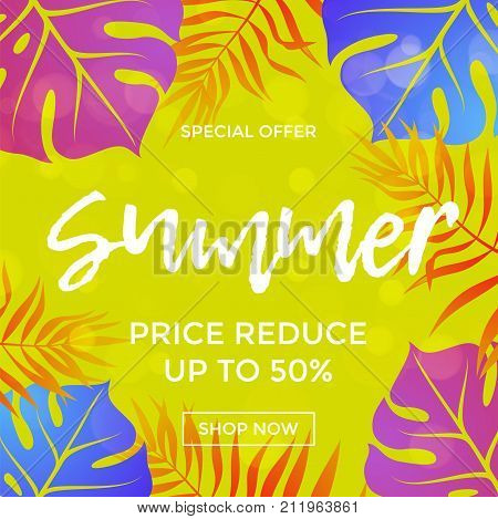 Summer Sale Price Reduce Shopping Vector Palm Leaf Poster